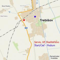 Trebišov - riaditeľstvo-servis a štart Headquarters and Start